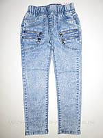 Весенние джинсы-варенки для девочек голубые из Венгрии на резинке 122,128,134р.