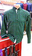 Рубашка мужская байковая Турция зеленая клетка