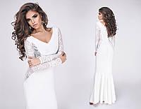 Длинное платье с гипюровыми вставками (5 цветов)