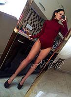 Женское бордовое  трикотажное боди с длинными рукавами. Арт-9995/82