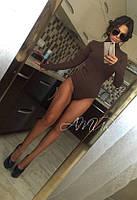 Женское  трикотажное боди с длинными рукавами, цвет шоколад. Арт-9995/82
