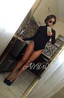 Женское черное трикотажное боди с длинными рукавами. Арт-9995/82