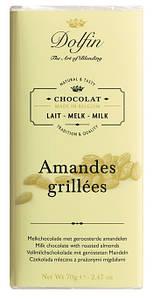 Шоколад бельгийский молочный с жареным миндалем Dolfin, 70г