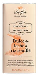 Шоколад бельгийский молочный со сгущенным молоком и рисовым суфле Dolfin, 70г