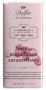 Шоколад бельгийский молочный с орехами макадамия Dolfin, 70г