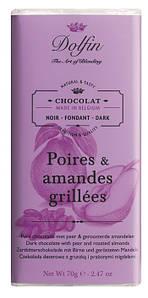 Шоколад бельгийский черный с грушей и жареным миндалем Dolfin, 70г