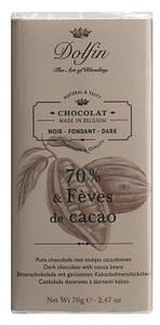 Шоколад бельгийский черный 70% с какао-бобами Dolfin, 70г