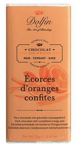 Шоколад бельгийский черный с цедрой апельсина Dolfin, 70г