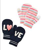 Вязаные рукавички, варежки для девочек Carters  2-4Т