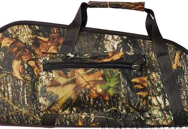 объемный карман и крепкие удобные ручки чехла для ружья с оптикой (камуфляж темный дуб)