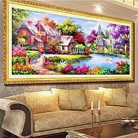 """Картина для рисования камнями Алмазная вышивка мозаика """"Домик возле реки2"""", фото 1"""