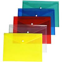 Папка-конверт на кнопке А4 прозрачная  FORMAT F38301 12/120/480