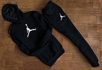Мужской спортивный костюм Jordan чёрный с капюшоном (большая эмблема)