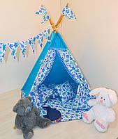 Детский игровой вигвам с помпонами ( палатка, шатер)