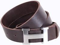 Брендовый кожаный мужской ремень Hermes H444-2 ДхШ: 130х4 см, коричневый