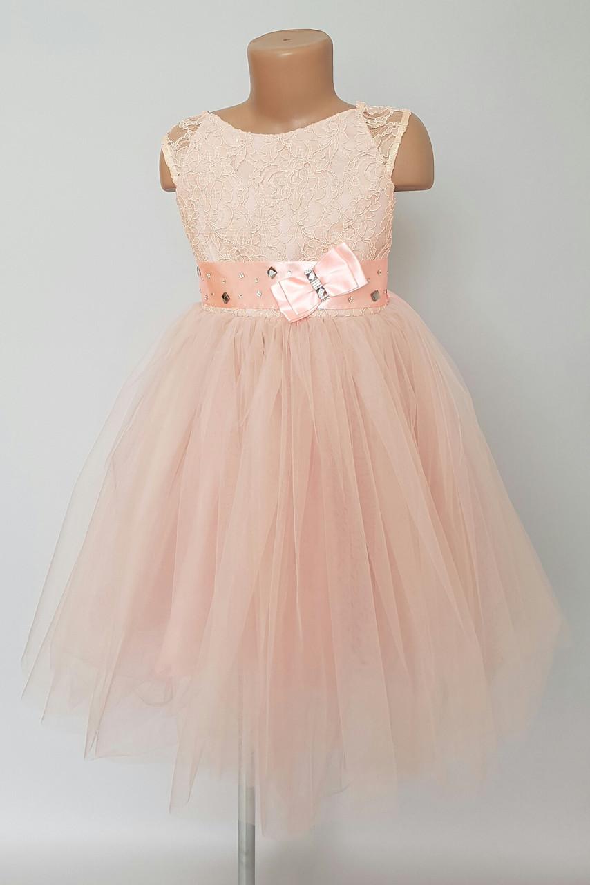 Нарядное платье для девочек комбинированное с гипюром