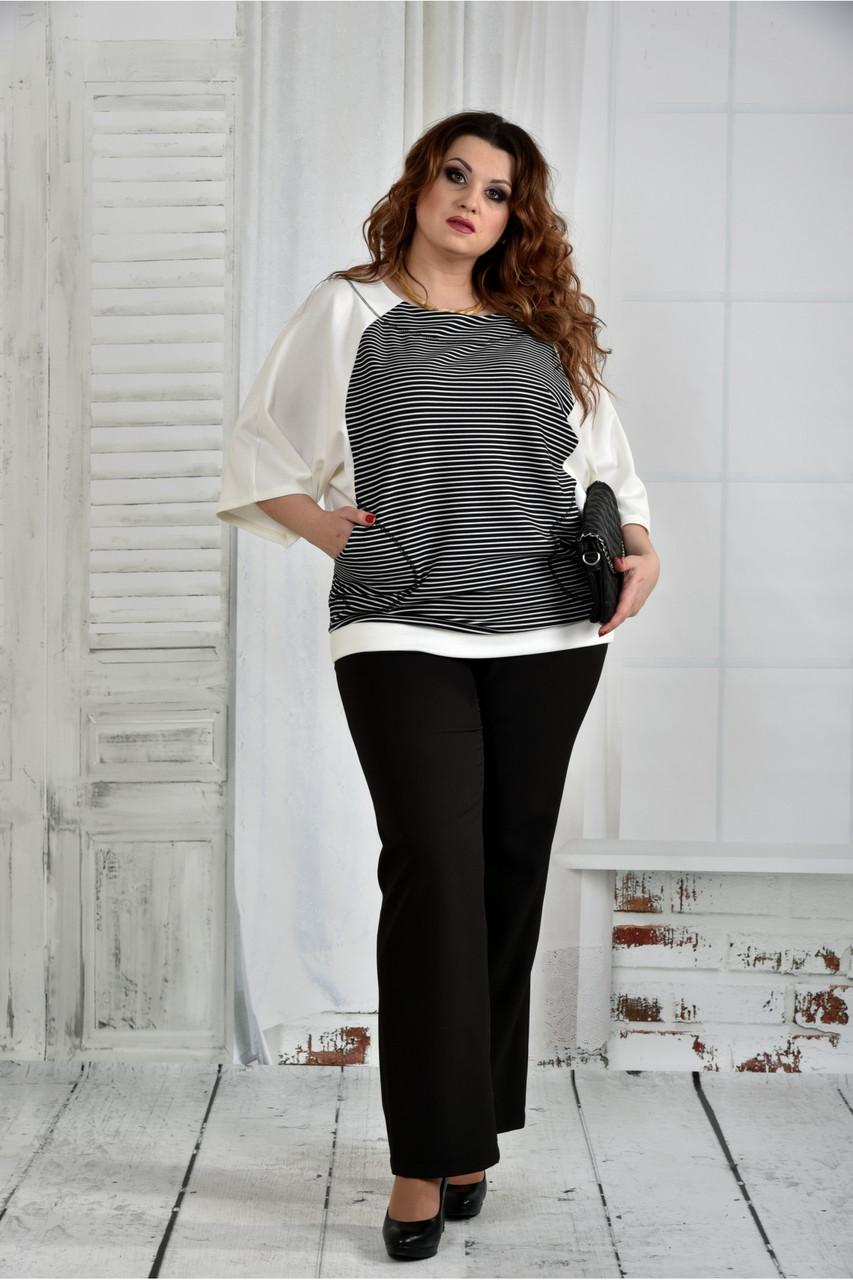 Женская блуза в полоску 0410 размер 42-74