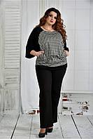 Женская блуза узор гусиная лапка 0410 размер 42-74