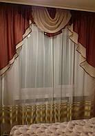 Шифоновый ламбрекен на карниз 1.5 - 2м  Бордового цвета