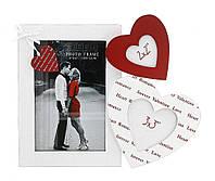 Деревянная фоторамка на стену (коллаж) красные и белые серца