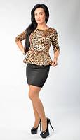 """Нарядное тигровое платье с баска """"Таира"""""""