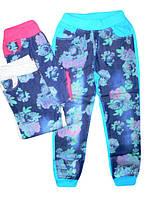 Комбинированные брюки для девочек (джинс+трикотаж) в цветочек для девочек 134-164р. на резинке