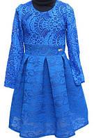 Детское нарядное платье синий гипюр 110, 116р