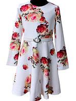 Нарядное белое платье в цветы 122-146р