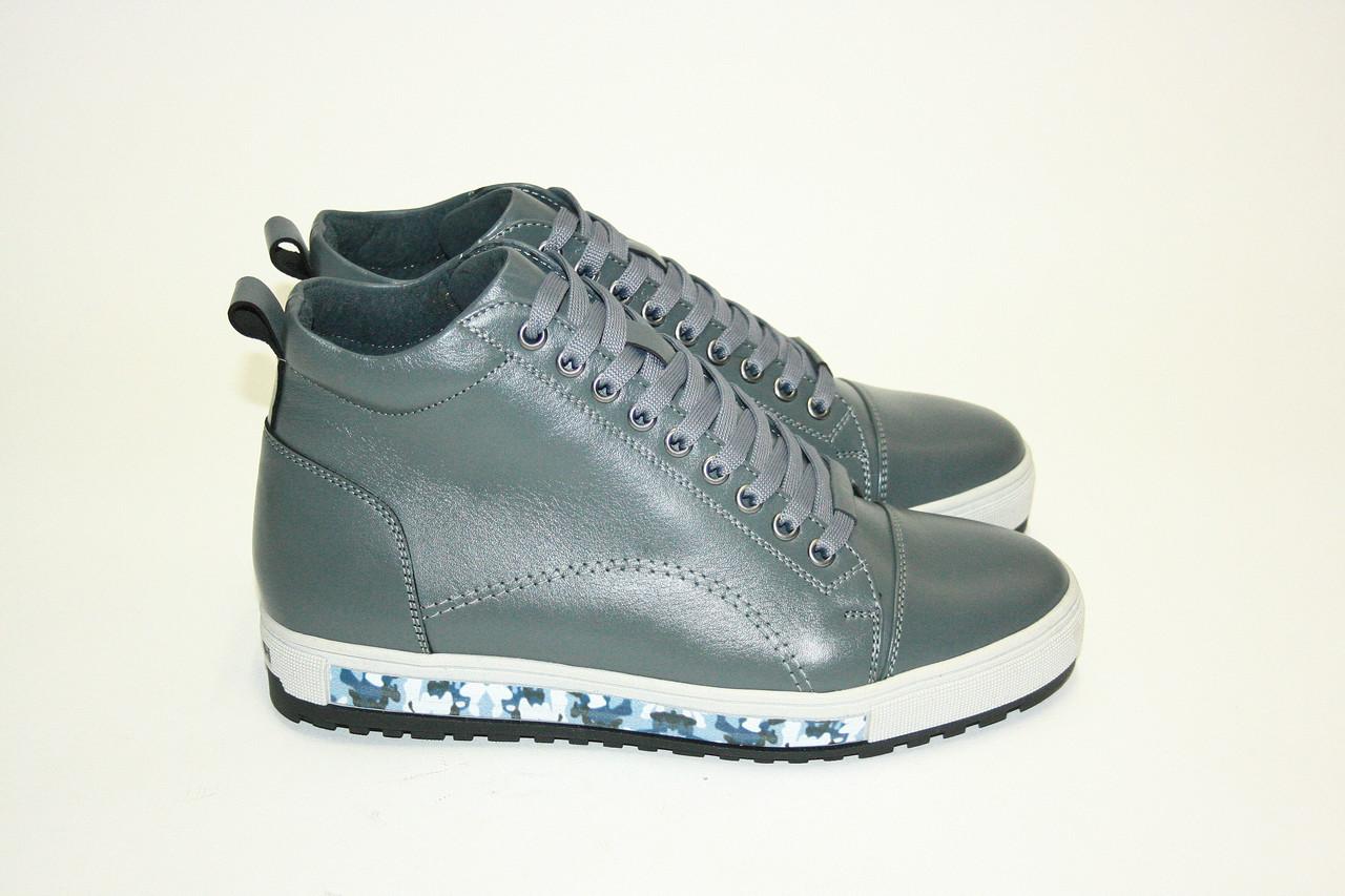 Зимние мужские ботинки темно-серые/ man shoes 16160 сер.х.