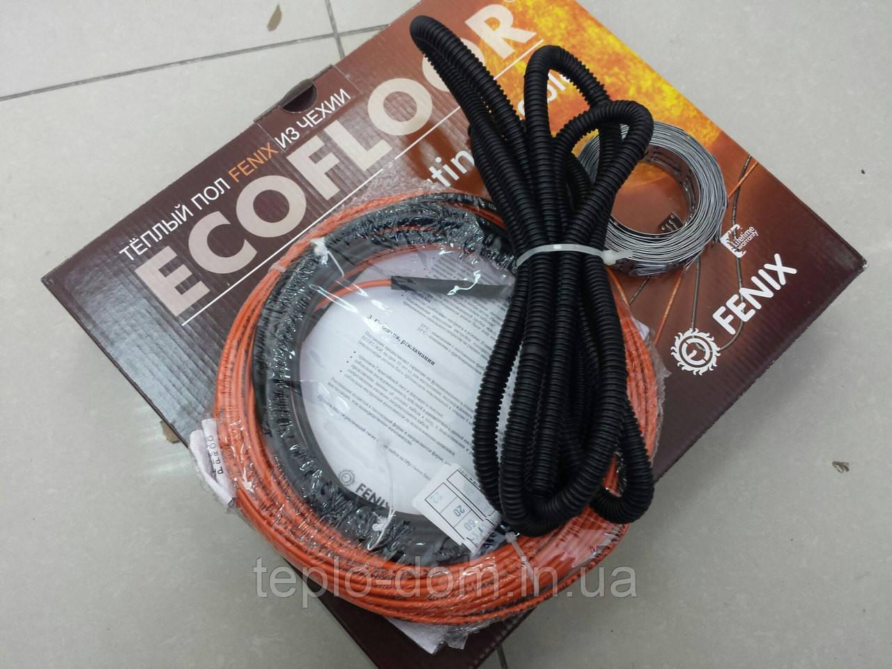 Тонкий нагревательный кабель под плитку FENIX (  с крепежом и гофрой ) 0.8 м.кв