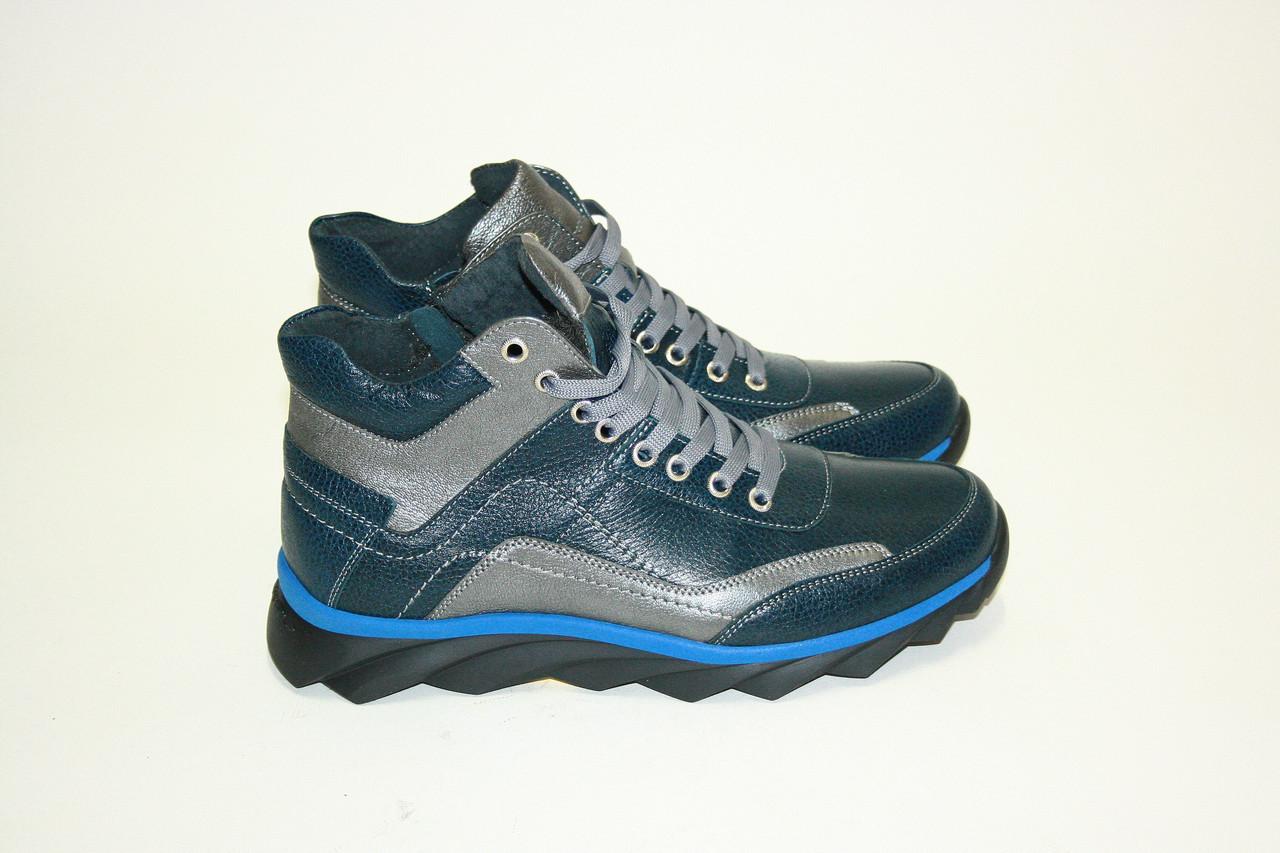 Ботинки зимние на шнуровке/ man shoes 16170 син.х