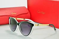 Солнцезащитные очки Cartier черные с белым