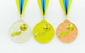 Медаль спортивна зі стрічкою двоколірна d-6,5 см Футбол C-4847 1-золото, 2-срібло, 3-бронза (метал), фото 2