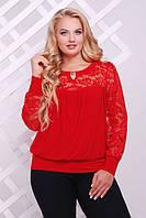 Женская красная блуза большого размера Лина ТМ Таtiana 60-62  размеры
