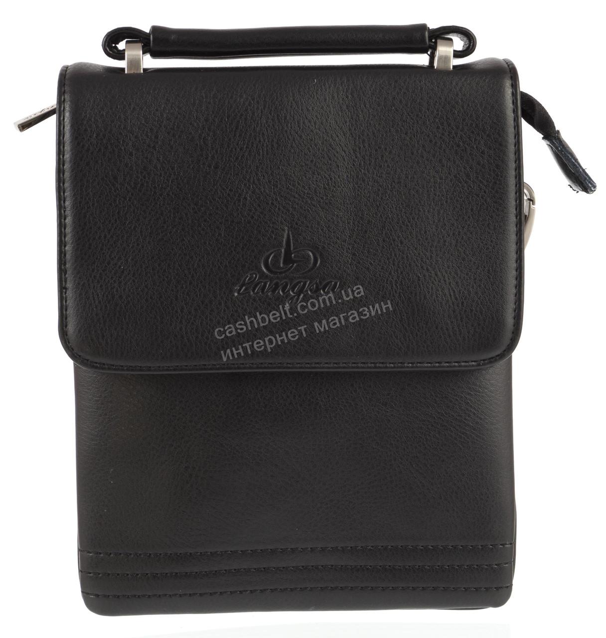 Удобная компактная черная прочная мужская сумка с качественной PU кожи LANGSA art. TP9871-1 черная