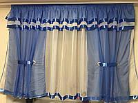 "Шторки с тюлью на кухню""Роксана""  Голубого цвета .Высота 1.6м. Ширина 4м"
