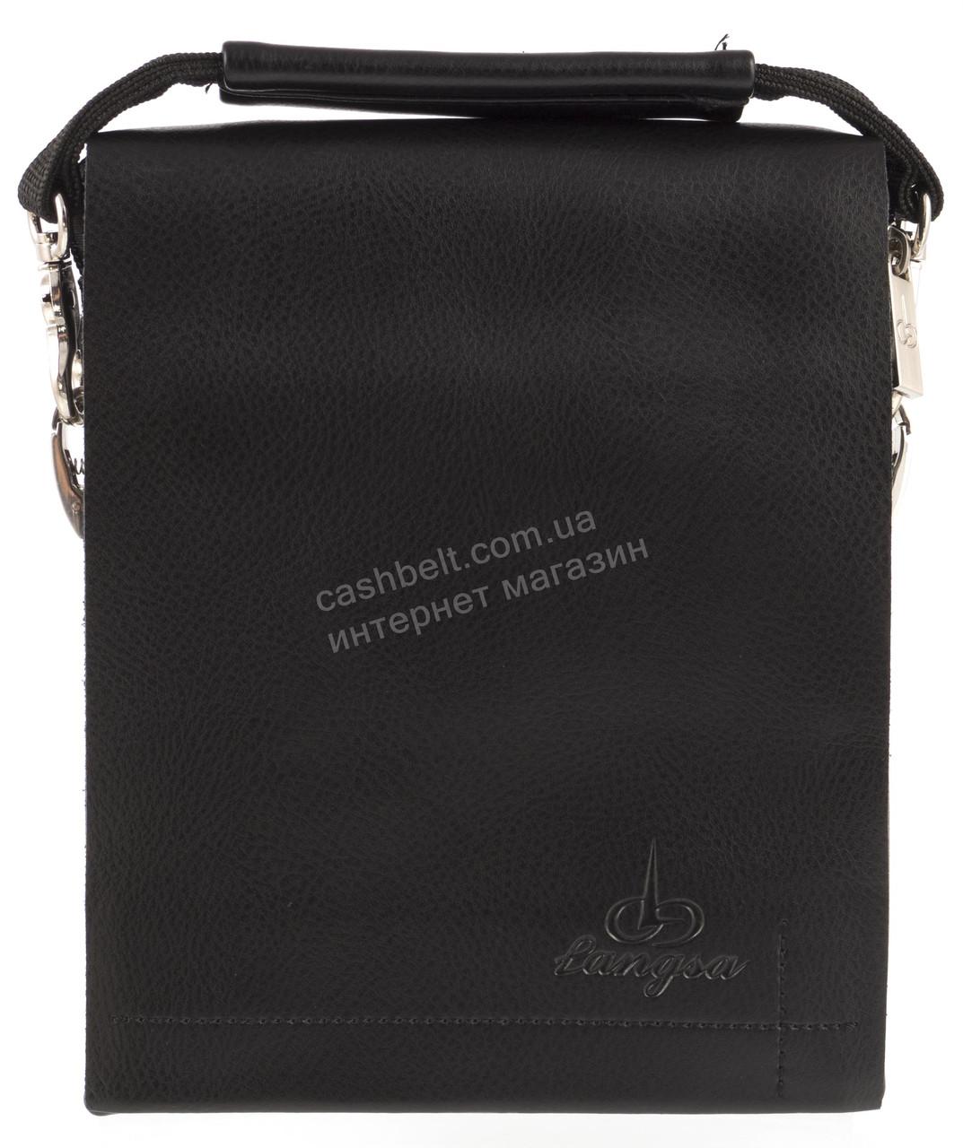 Удобная компактная черная прочная мужская сумка с качественной PU кожи LANGSA art. TP9887-1 черная