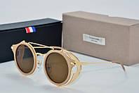 Солнцезащитные очки круглые Tom Browne коричневые в бежевой оправе