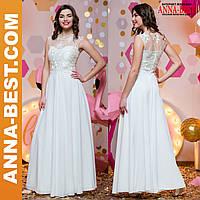 """Вечернее, свадебное белое длинное платье """"Ванесса"""" S"""