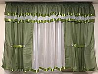 """Шторки с тюлью на кухню""""Роксана""""  Зелёного  цвета .Высота 1.6м. Ширина 4м"""