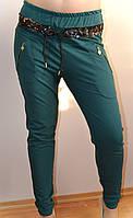 Штаны женские, цвет изумруд, с карманами