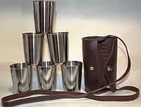Набор стаканов в кожаном футляре с ремнем 6 штук, 200 мл