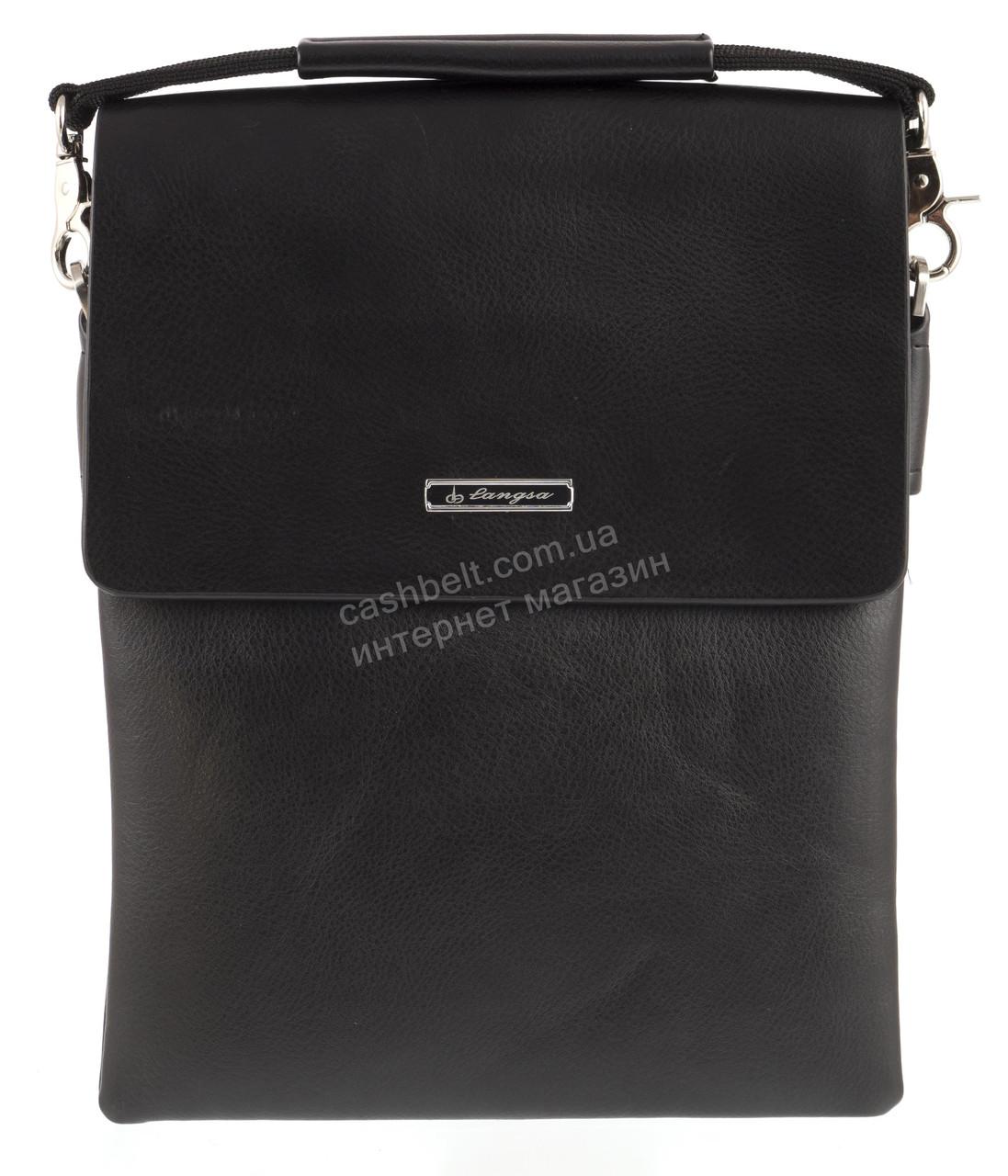 Удобная черная прочная мужская сумка с качественной PU кожи LANGSA art. TP6760-3 черная