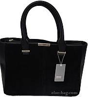 Черная женская сумка с натуральным замшем, фото 1