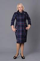 Повседневное платье с платком и брошью
