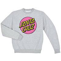 Свитшот Santa Cruz pink gray серый с логотипом, унисекс (мужской,женский,детский)