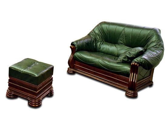 Кожаная мебель Монарх: раскладной 2х-местный диван и пуф