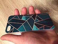 Силиконовый чехол для iphone 5/5s/se треугольники зеленые