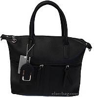 Черная мягкая женская сумка с карманами, фото 1