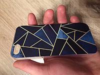 Силиконовый чехол для iphone 5/5s/se треугольники синие